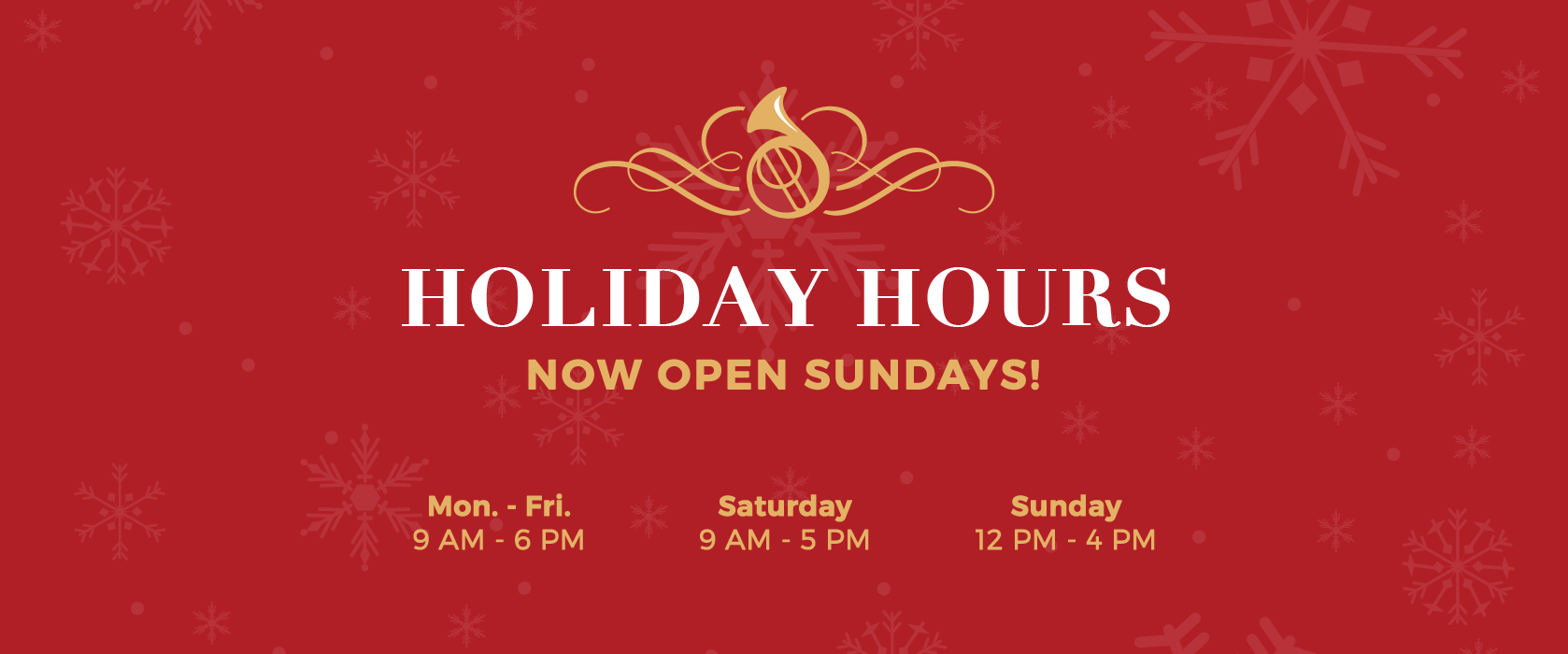 Brass Horn Too Holiday Hours